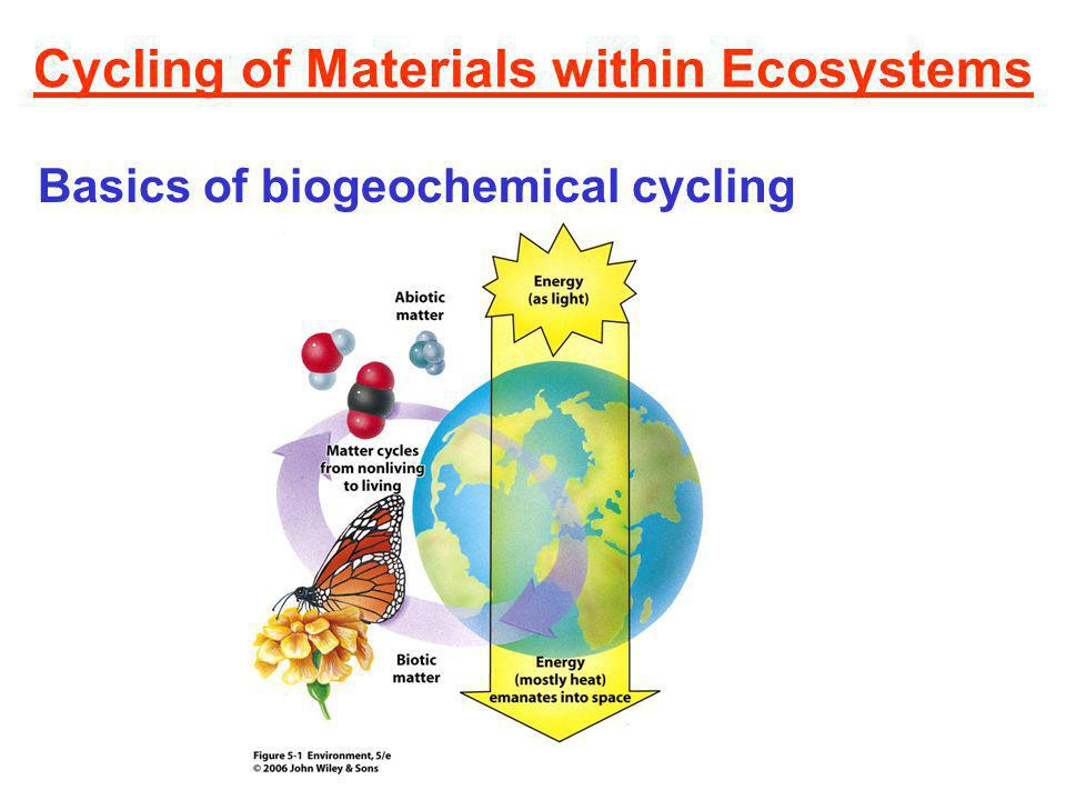 Cycling of Materials within Ecosystems Basics of biogeochemical cycling