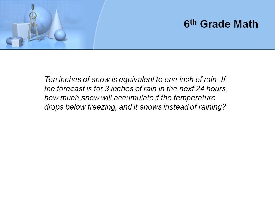 Ten inches of snow is equivalent to one inch of rain.