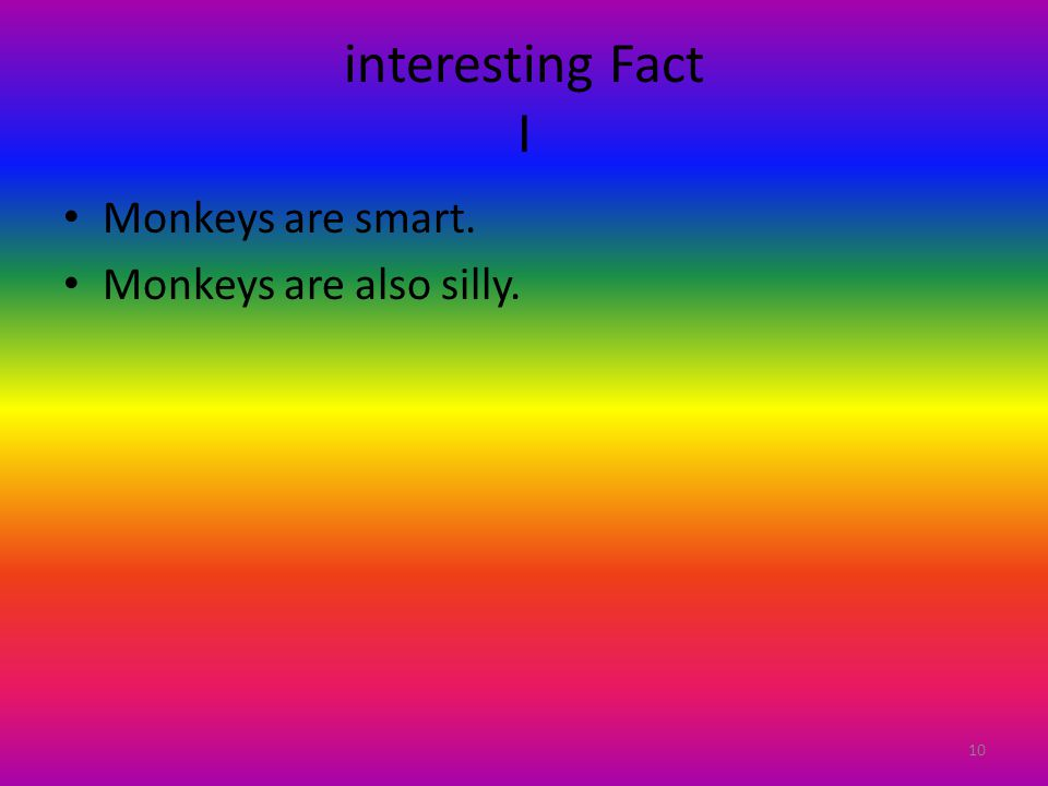 interesting Fact I Monkeys are smart. Monkeys are also silly. 10