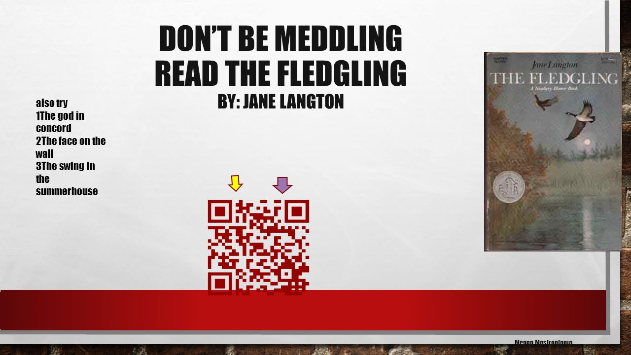 DON'T BE MEDDLING READ THE FLEDGLING BY: JANE LANGTON Megan Mastrantonio also try 1The god in concord 2The face on the wall 3The swing in the summerhouse