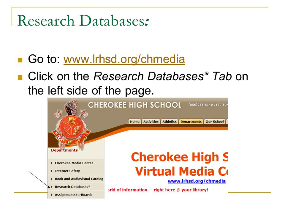 Research Databases : Go to: www.lrhsd.org/chmediawww.lrhsd.org/chmedia Click on the Research Databases* Tab on the left side of the page.