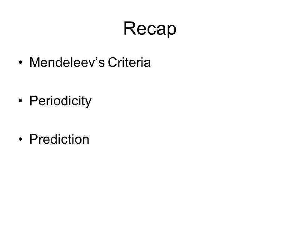 Recap Mendeleev's Criteria Periodicity Prediction