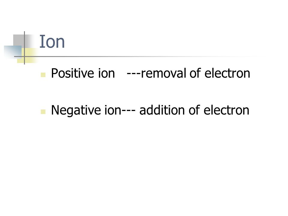 Ion Positive ion---removal of electron Negative ion--- addition of electron