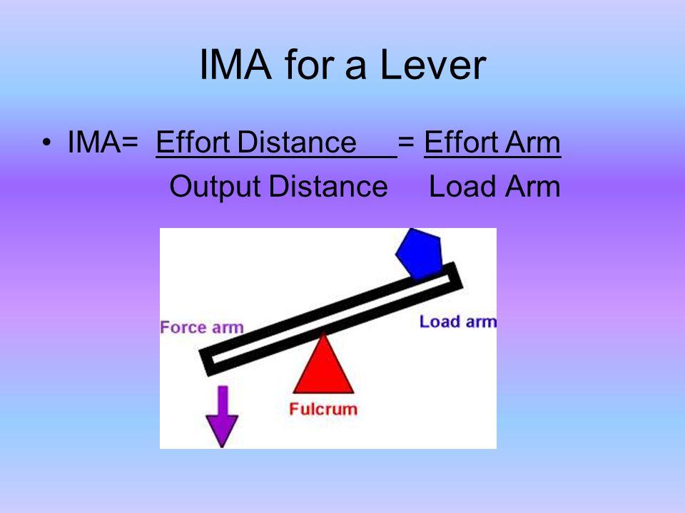 IMA for a Lever IMA= Effort Distance = Effort Arm Output Distance Load Arm