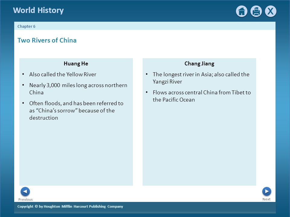 Copyright © by Houghton Mifflin Harcourt Publishing Company Next Previous Chapter 6 World History Huang He Also called the Yellow River Nearly 3,000 m