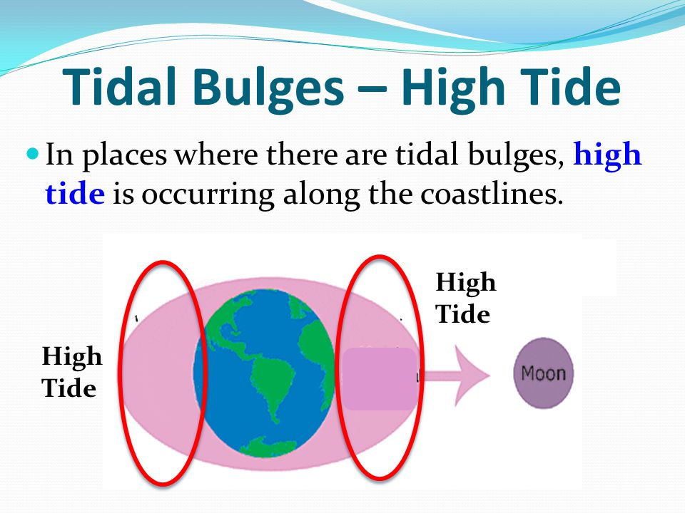 Tidal Bulges – High Tide In places where there are tidal bulges, high tide is occurring along the coastlines. High Tide High Tide