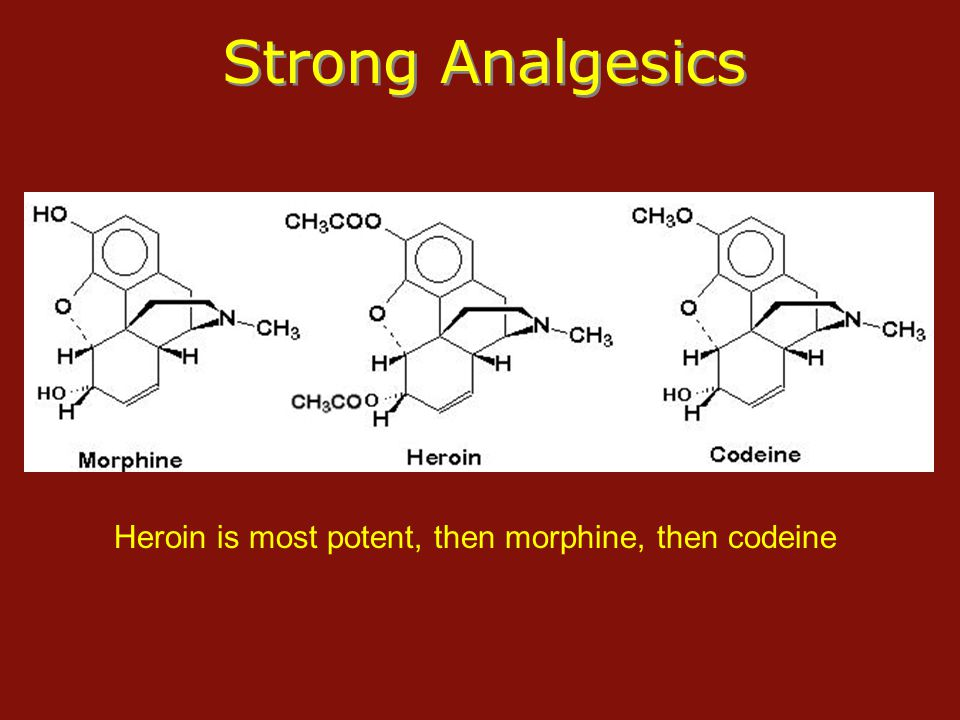 Strong Analgesics Heroin is most potent, then morphine, then codeine
