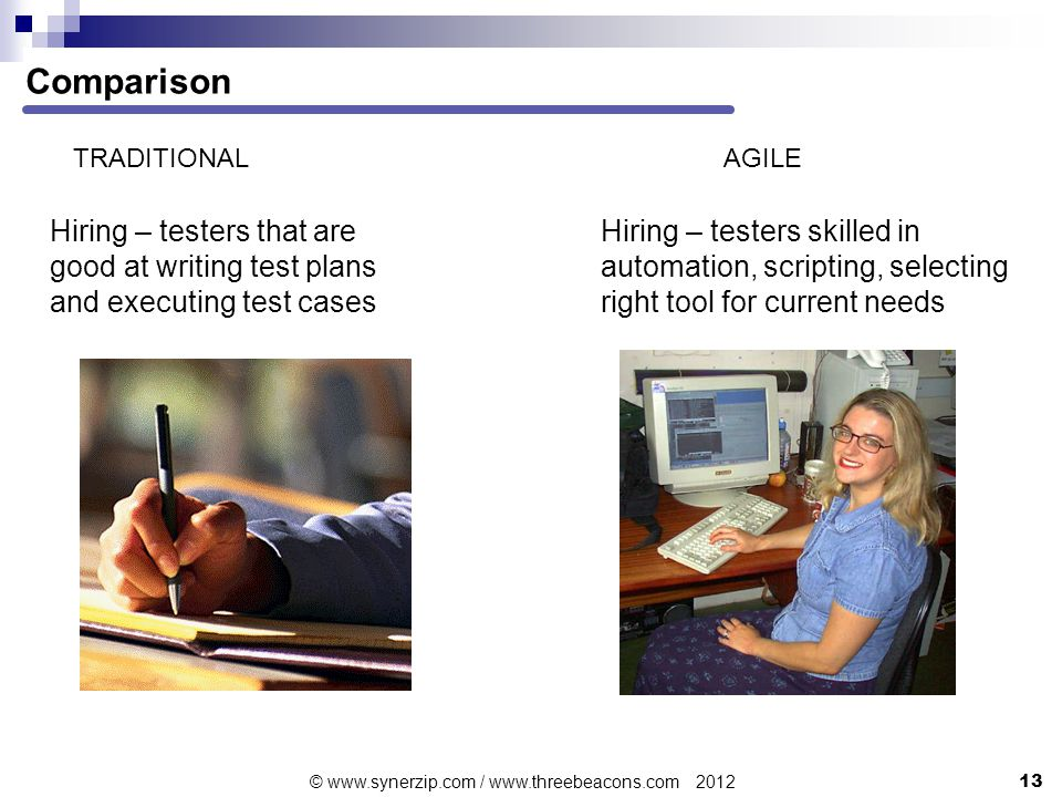 Comparison TRADITIONALAGILE Hiring – testers that are good at writing test plans and executing test cases Hiring – testers skilled in automation, scripting, selecting right tool for current needs 13 © www.synerzip.com / www.threebeacons.com 2012