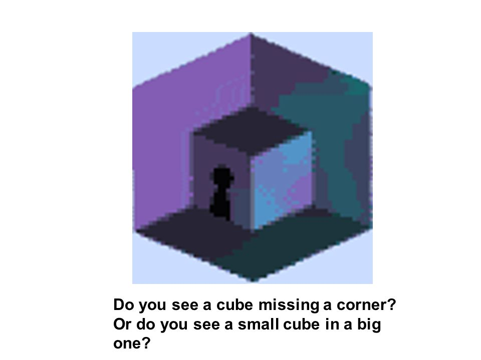 Do you see a cube missing a corner Or do you see a small cube in a big one