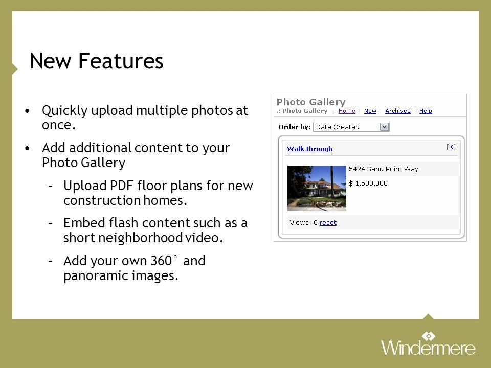 New Features Quickly upload multiple photos at once.