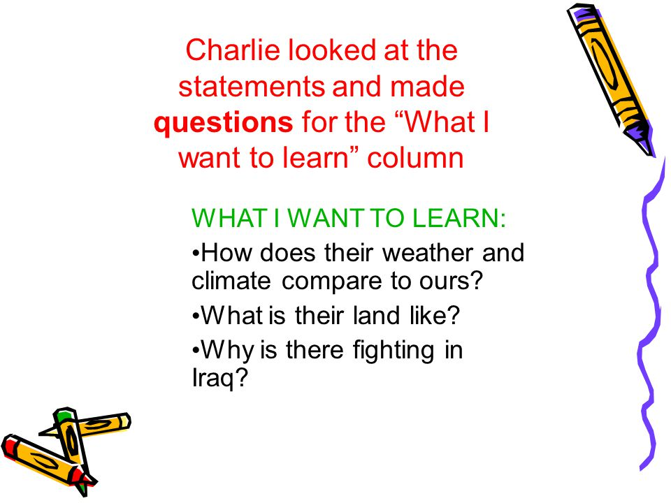 Research Statements Charlie looked at his questions and came up with these goals for his paper..