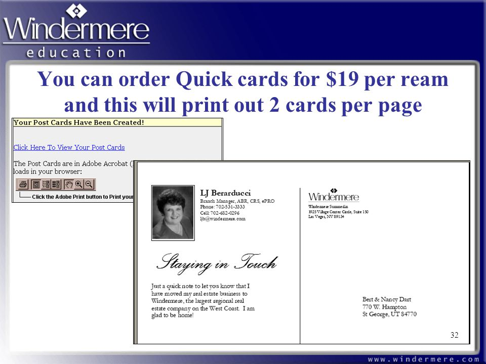 32 You can order Quick cards for $19 per ream and this will print out 2 cards per page 32