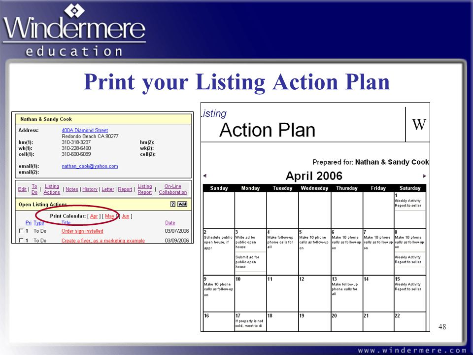 48 Print your Listing Action Plan