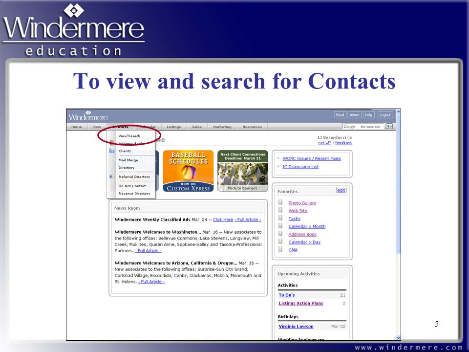 5 To view and search for Contacts 5