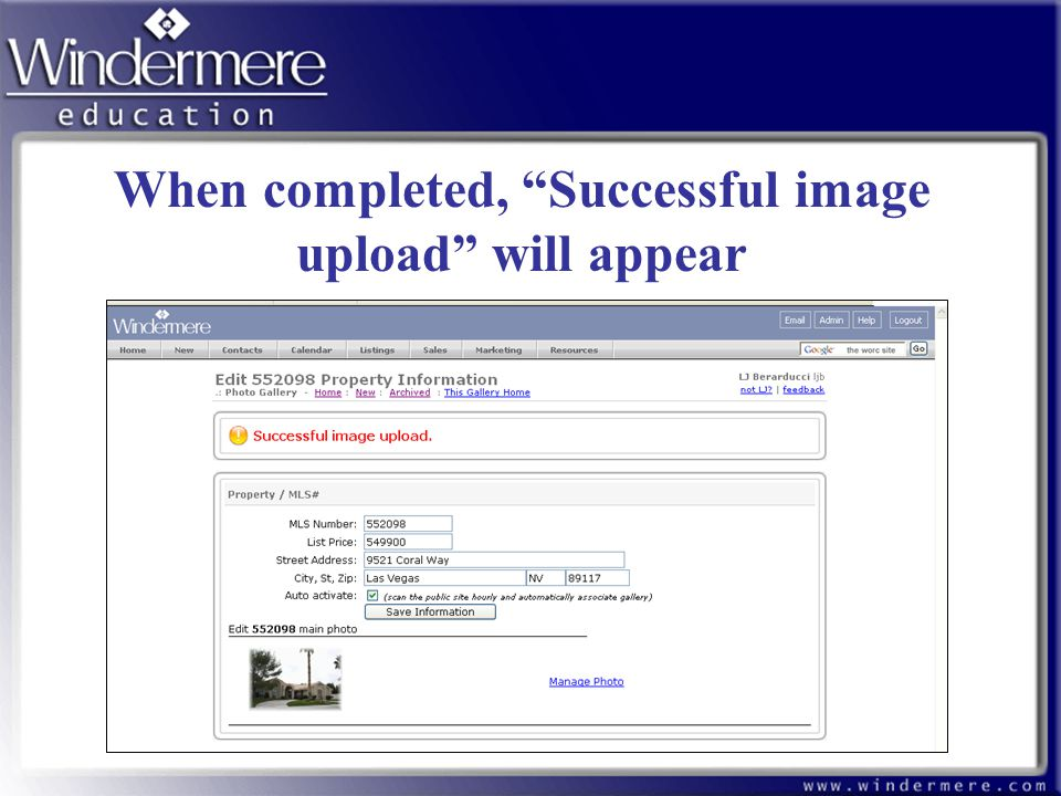 "67 When completed, ""Successful image upload"" will appear"