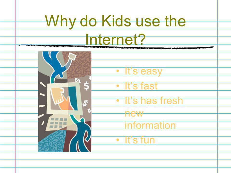 Why do Kids use the Internet? It's easy It's fast It's has fresh new information It's fun