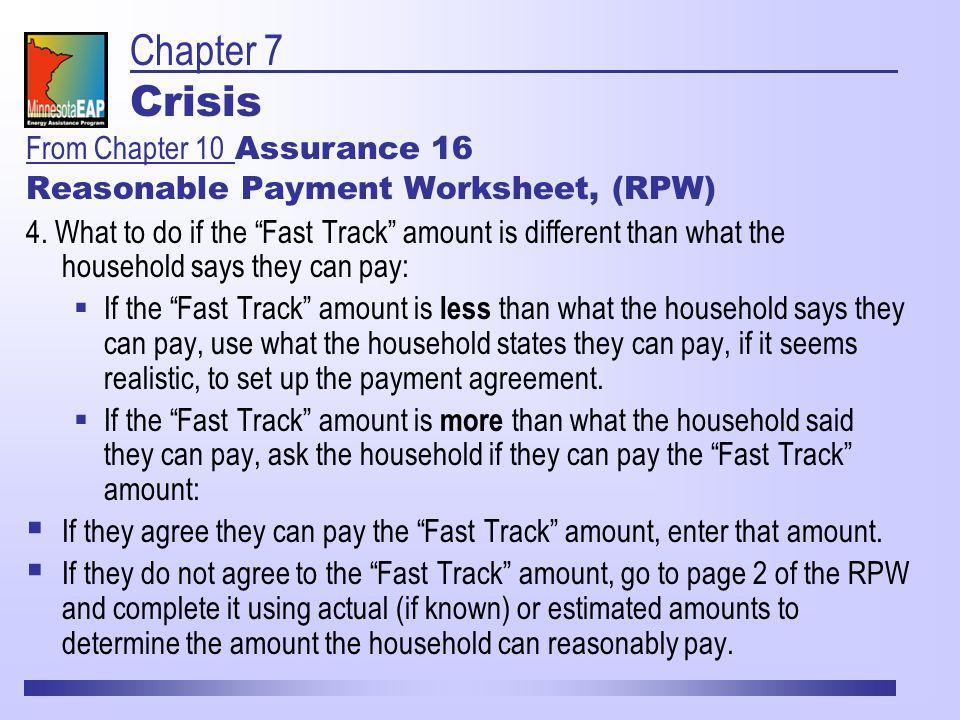 Reasonable Payment Worksheet, (RPW) 4.