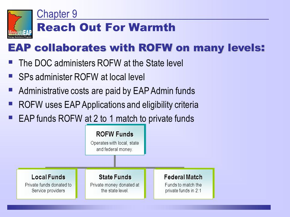 Chapter 9 Reach Out For Warmth ROFW Funds Operates with local, state and federal money.