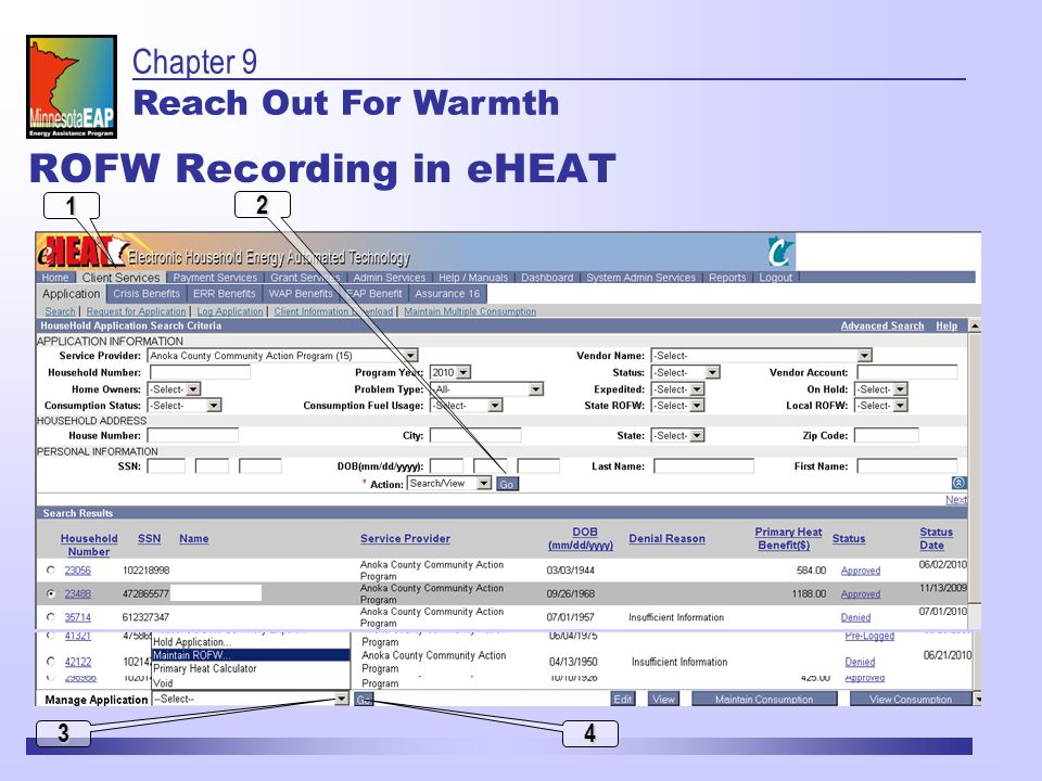 2 1 3 4 ROFW Recording in eHEAT Chapter 9 Reach Out For Warmth