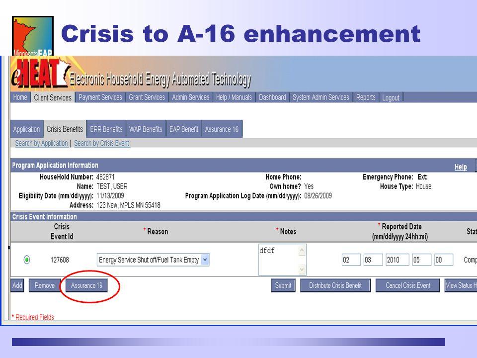 Crisis to A-16 enhancement