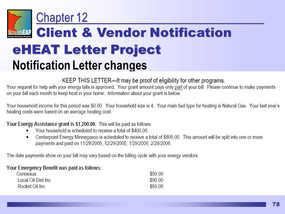 78 eHEAT Letter Project Notification Letter changes Chapter 12 Client & Vendor Notification