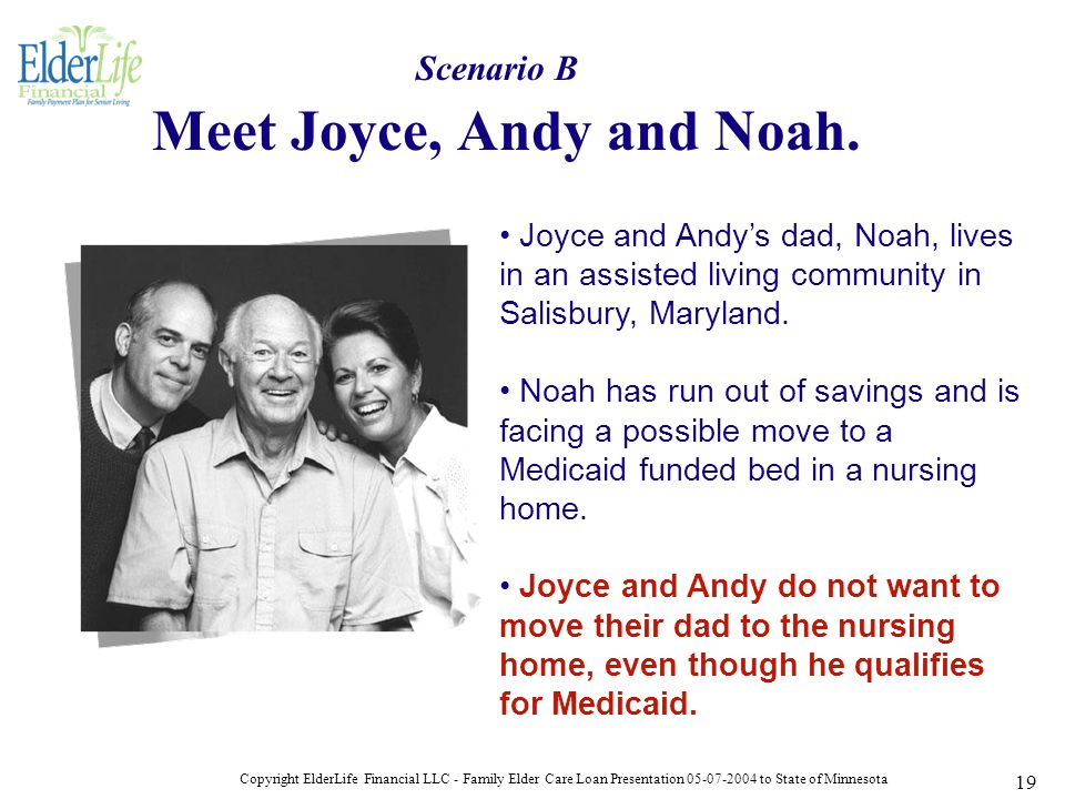 Copyright ElderLife Financial LLC - Family Elder Care Loan Presentation 05-07-2004 to State of Minnesota 19 Meet Joyce, Andy and Noah.