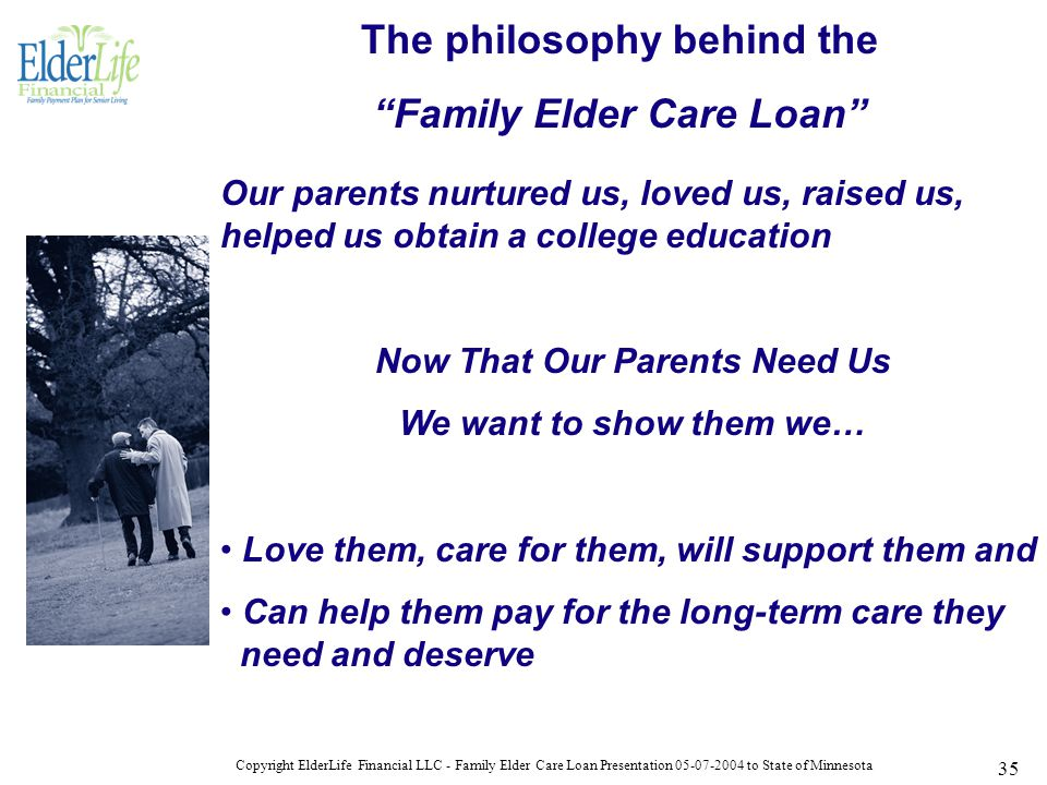 Copyright ElderLife Financial LLC - Family Elder Care Loan Presentation 05-07-2004 to State of Minnesota 35 The philosophy behind the Family Elder Care Loan Our parents nurtured us, loved us, raised us, helped us obtain a college education Now That Our Parents Need Us We want to show them we… Love them, care for them, will support them and Can help them pay for the long-term care they need and deserve