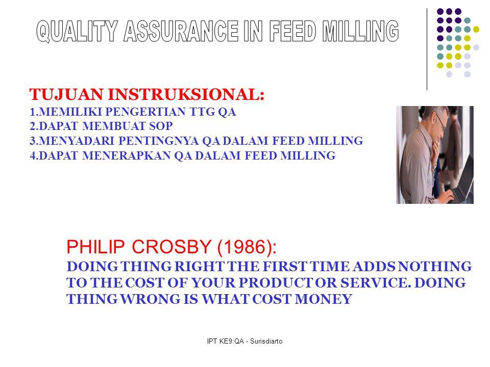 IPT KE9:QA - Surisdiarto TUJUAN INSTRUKSIONAL: 1.MEMILIKI PENGERTIAN TTG QA 2.DAPAT MEMBUAT SOP 3.MENYADARI PENTINGNYA QA DALAM FEED MILLING 4.DAPAT MENERAPKAN QA DALAM FEED MILLING PHILIP CROSBY (1986): DOING THING RIGHT THE FIRST TIME ADDS NOTHING TO THE COST OF YOUR PRODUCT OR SERVICE.