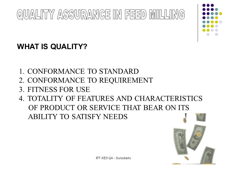 IPT KE9:QA - Surisdiarto WHAT IS QUALITY.