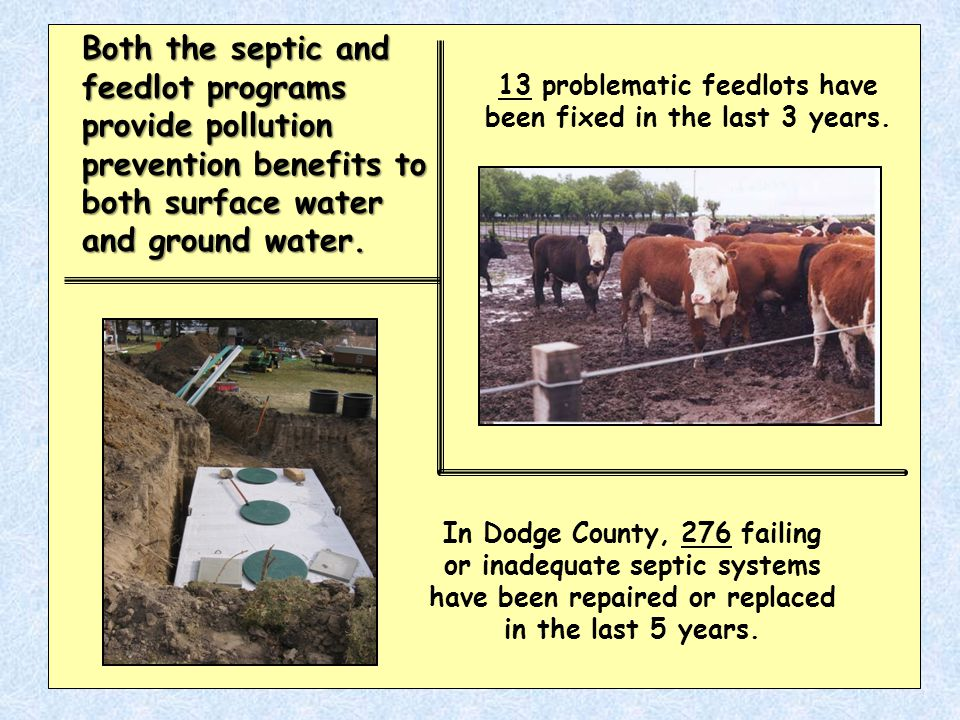 In Dodge County, 276 failing or inadequate septic systems have been repaired or replaced in the last 5 years.