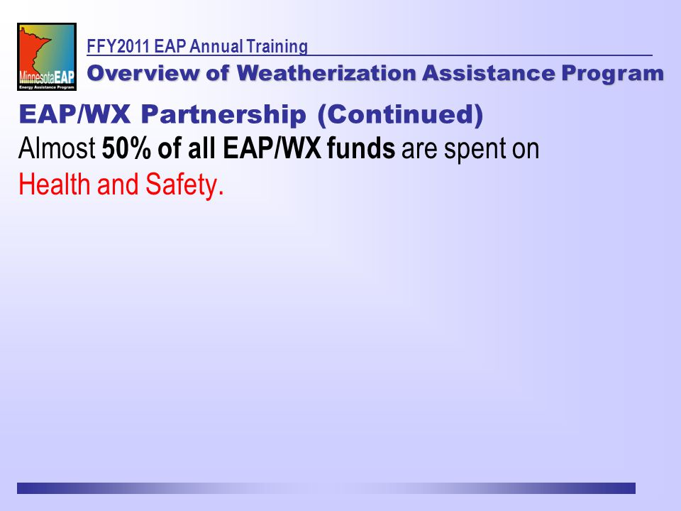 Almost 50% of all EAP/WX funds are spent on Health and Safety.