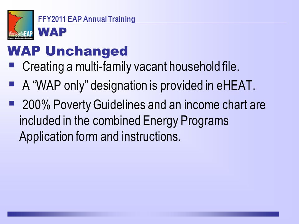 WAP Unchanged  Creating a multi-family vacant household file.