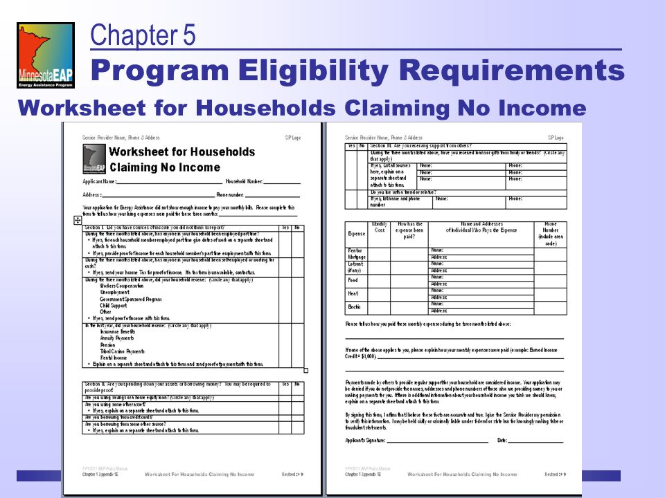 Worksheet for Households Claiming No Income Chapter 5 Program Eligibility Requirements