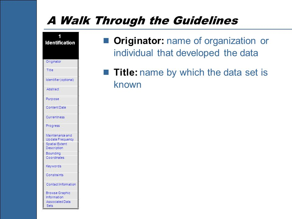 A Walk Through the Guidelines Originator: name of organization or individual that developed the data Title: name by which the data set is known