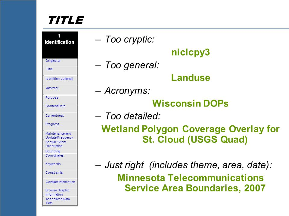 TITLE –Too cryptic: niclcpy3 –Too general: Landuse –Acronyms: Wisconsin DOPs –Too detailed: Wetland Polygon Coverage Overlay for St.