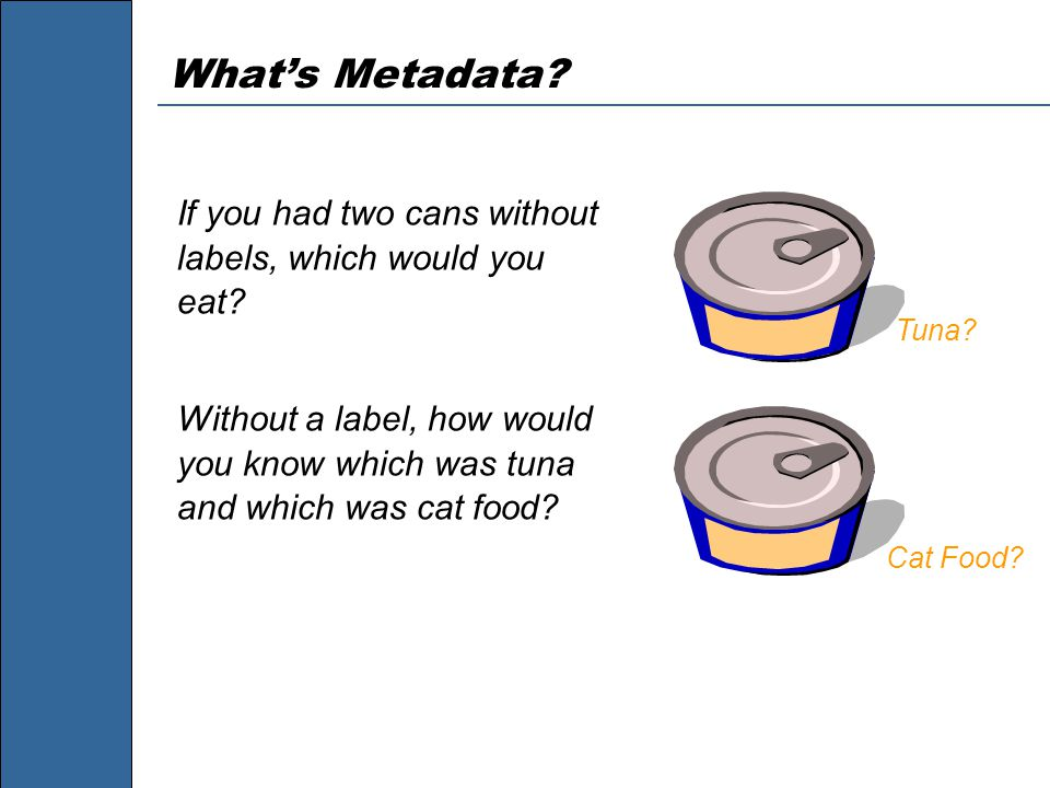 What's Metadata. If you had two cans without labels, which would you eat.