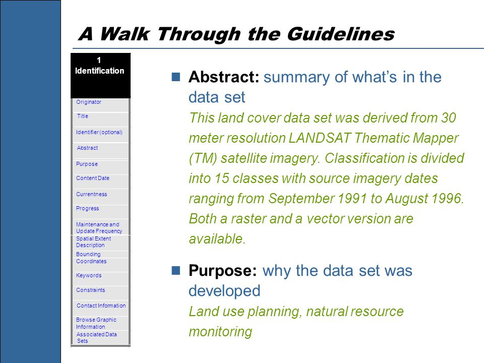 A Walk Through the Guidelines Abstract: summary of what's in the data set This land cover data set was derived from 30 meter resolution LANDSAT Themat
