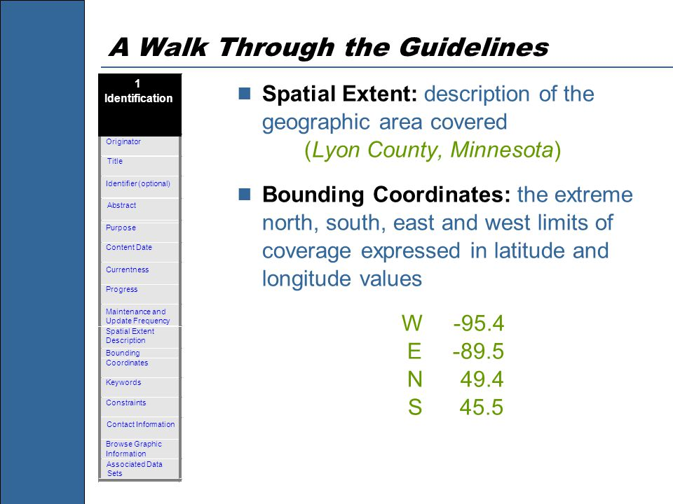 A Walk Through the Guidelines Spatial Extent: description of the geographic area covered (Lyon County, Minnesota) Bounding Coordinates: the extreme north, south, east and west limits of coverage expressed in latitude and longitude values W -95.4 E -89.5 N 49.4 S 45.5