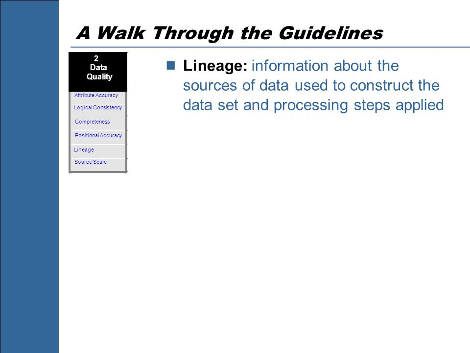A Walk Through the Guidelines Lineage: information about the sources of data used to construct the data set and processing steps applied