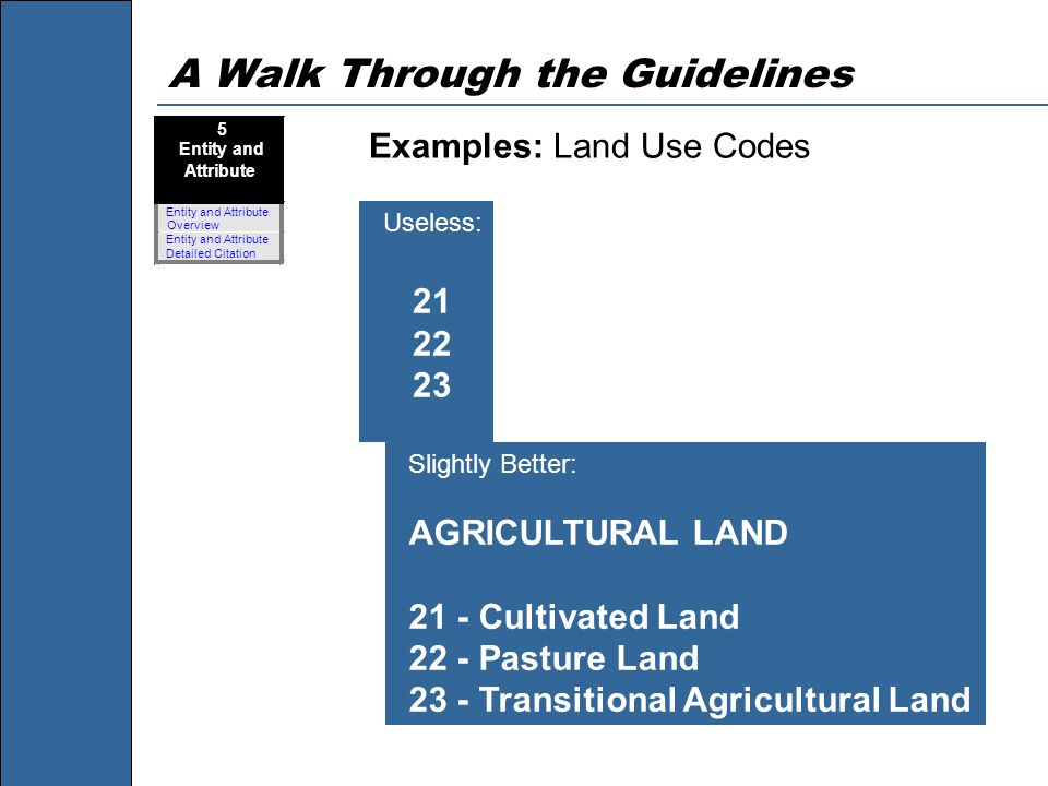 A Walk Through the Guidelines Examples: Land Use Codes 5 Entity and Attribute Entity and Attribute Overview Entity and Attribute Detailed Citation Use