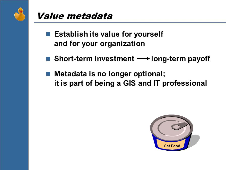 Value metadata Establish its value for yourself and for your organization Short-term investment long-term payoff Metadata is no longer optional; it is