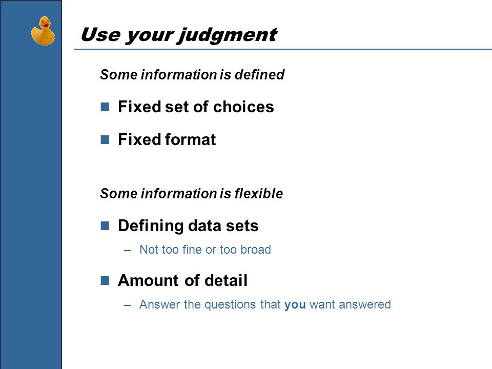 Use your judgment Some information is defined Fixed set of choices Fixed format Some information is flexible Defining data sets –Not too fine or too broad Amount of detail –Answer the questions that you want answered