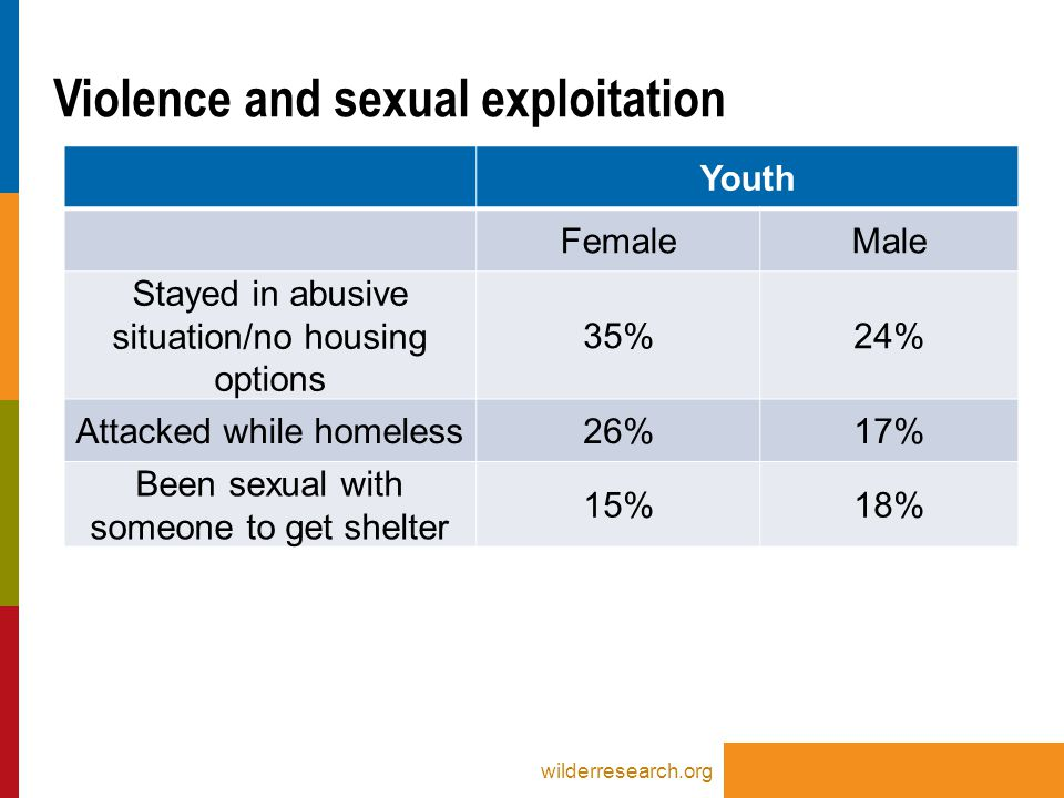 Youth FemaleMale Stayed in abusive situation/no housing options 35%24% Attacked while homeless26%17% Been sexual with someone to get shelter 15%18% Violence and sexual exploitation wilderresearch.org