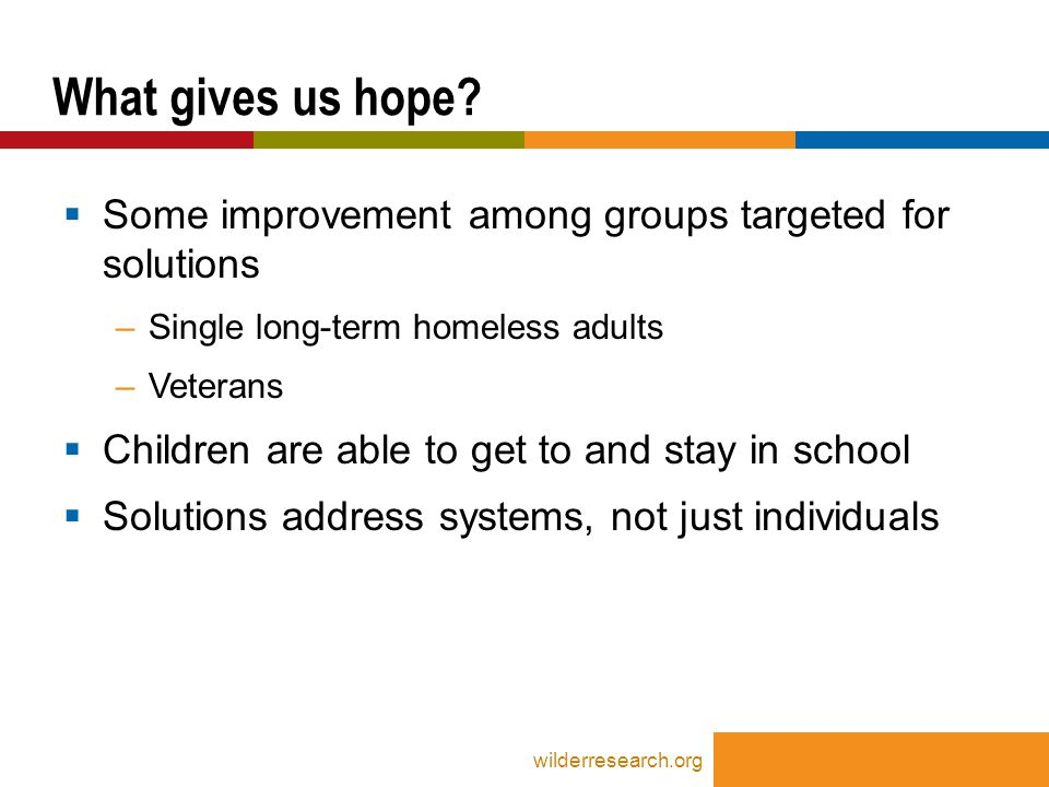  Some improvement among groups targeted for solutions –Single long-term homeless adults –Veterans  Children are able to get to and stay in school  Solutions address systems, not just individuals What gives us hope.