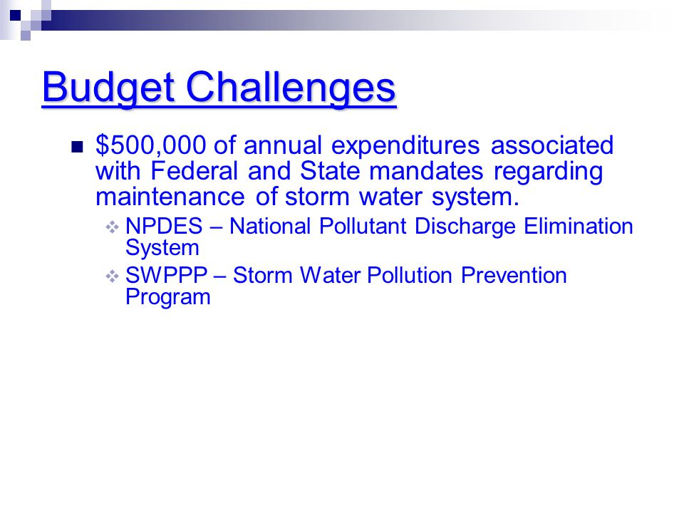 Budget Challenges $500,000 of annual expenditures associated with Federal and State mandates regarding maintenance of storm water system.