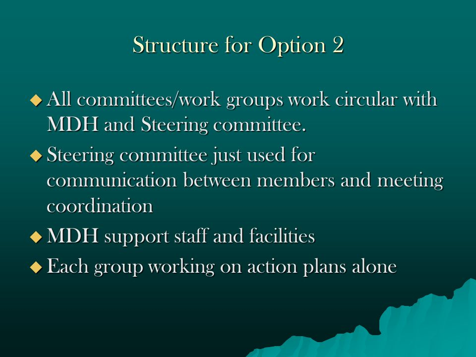 Structure for Option 2  All committees/work groups work circular with MDH and Steering committee.  Steering committee just used for communication be