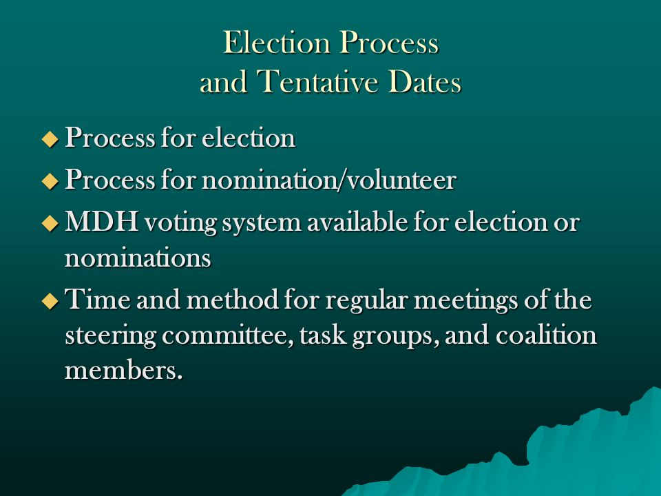 Election Process and Tentative Dates  Process for election  Process for nomination/volunteer  MDH voting system available for election or nominations  Time and method for regular meetings of the steering committee, task groups, and coalition members.