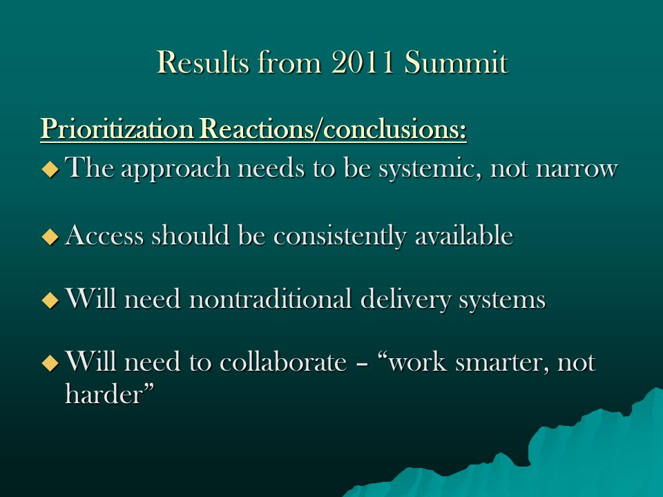 Results from 2011 Summit Prioritization Reactions/conclusions:  The approach needs to be systemic, not narrow  Access should be consistently availab