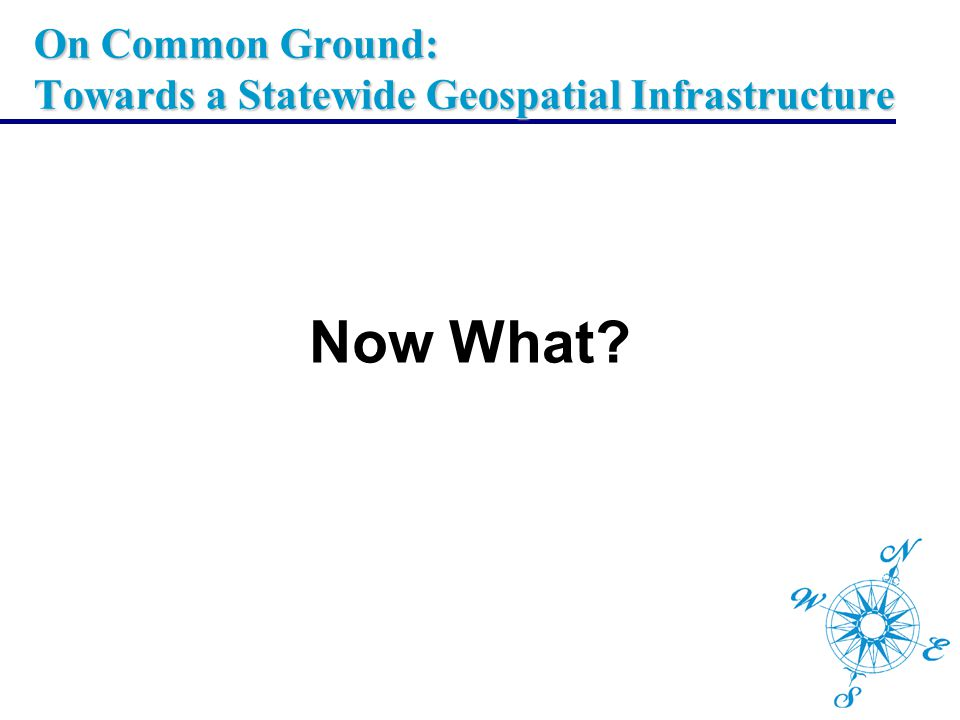 On Common Ground: Towards a Statewide Geospatial Infrastructure Now What?