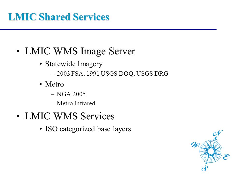 LMIC Shared Services LMIC WMS Image Server Statewide Imagery –2003 FSA, 1991 USGS DOQ, USGS DRG Metro –NGA 2005 –Metro Infrared LMIC WMS Services ISO categorized base layers
